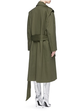 Back View - Click To Enlarge - Balenciaga - Cotton twill trench coat
