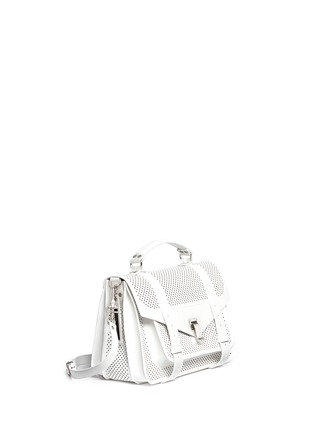 Front View - Click To Enlarge - Proenza Schouler - 'PS1' medium perforated leather satchel