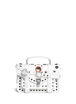 Main View - Click To Enlarge - Proenza Schouler - 'PS1' tiny variegated grommet leather satchel