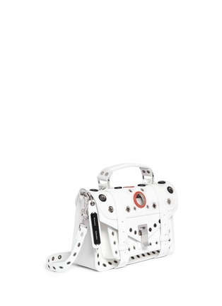 Figure View - Click To Enlarge - Proenza Schouler - 'PS1' tiny variegated grommet leather satchel