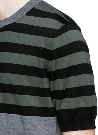 Detail View - Click To Enlarge - Marni - Stripe cotton-wool short sleeve sweater