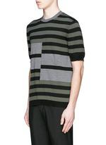 Stripe cotton-wool short sleeve sweater
