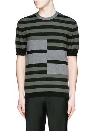 Main View - Click To Enlarge - Marni - Stripe cotton-wool short sleeve sweater