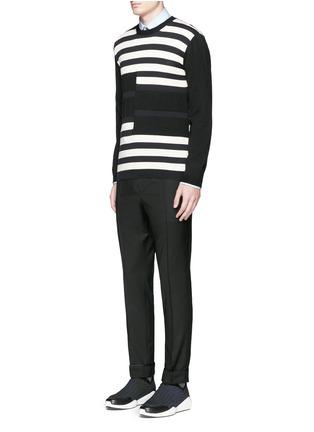 模特儿示范图 - 点击放大 - MARNI - 拼色横纹棉混羊毛针织衫