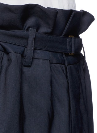 Detail View - Click To Enlarge - Marni - Paperbag waist crinkle wool wide leg pants