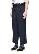 Paperbag waist crinkle wool wide leg pants