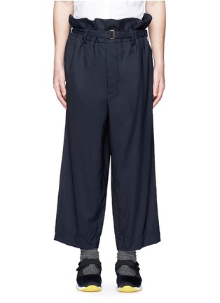 Main View - Click To Enlarge - Marni - Paperbag waist crinkle wool wide leg pants