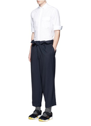 Figure View - Click To Enlarge - Marni - Paperbag waist crinkle wool wide leg pants