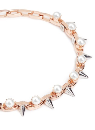 Detail View - Click To Enlarge - Joomi Lim - 'Lady Rebel' faux pearl spike necklace