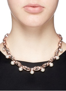 JOOMI LIM 'Lady Rebel' faux pearl spike necklace