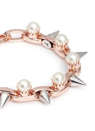 Detail View - Click To Enlarge - Joomi Lim - 'Lady Rebel' double row faux pearl spike bracelet