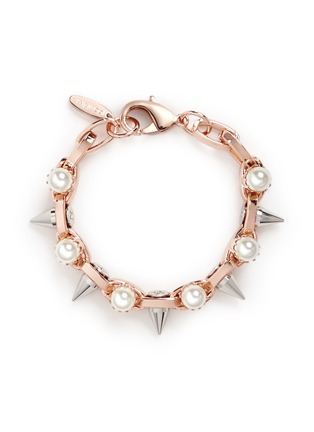 Main View - Click To Enlarge - Joomi Lim - 'Lady Rebel' double row faux pearl spike bracelet