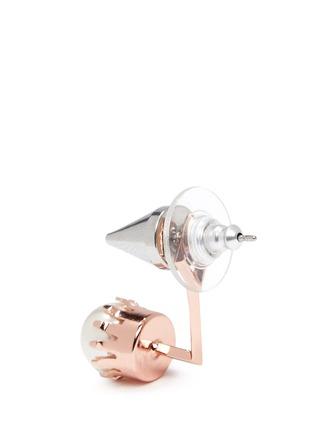 Detail View - Click To Enlarge - Joomi Lim - 'Lady Rebel' spike stud floating pearl earring set