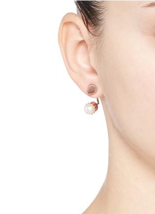 Figure View - Click To Enlarge - Joomi Lim - 'Lady Rebel' spike stud floating pearl earring set
