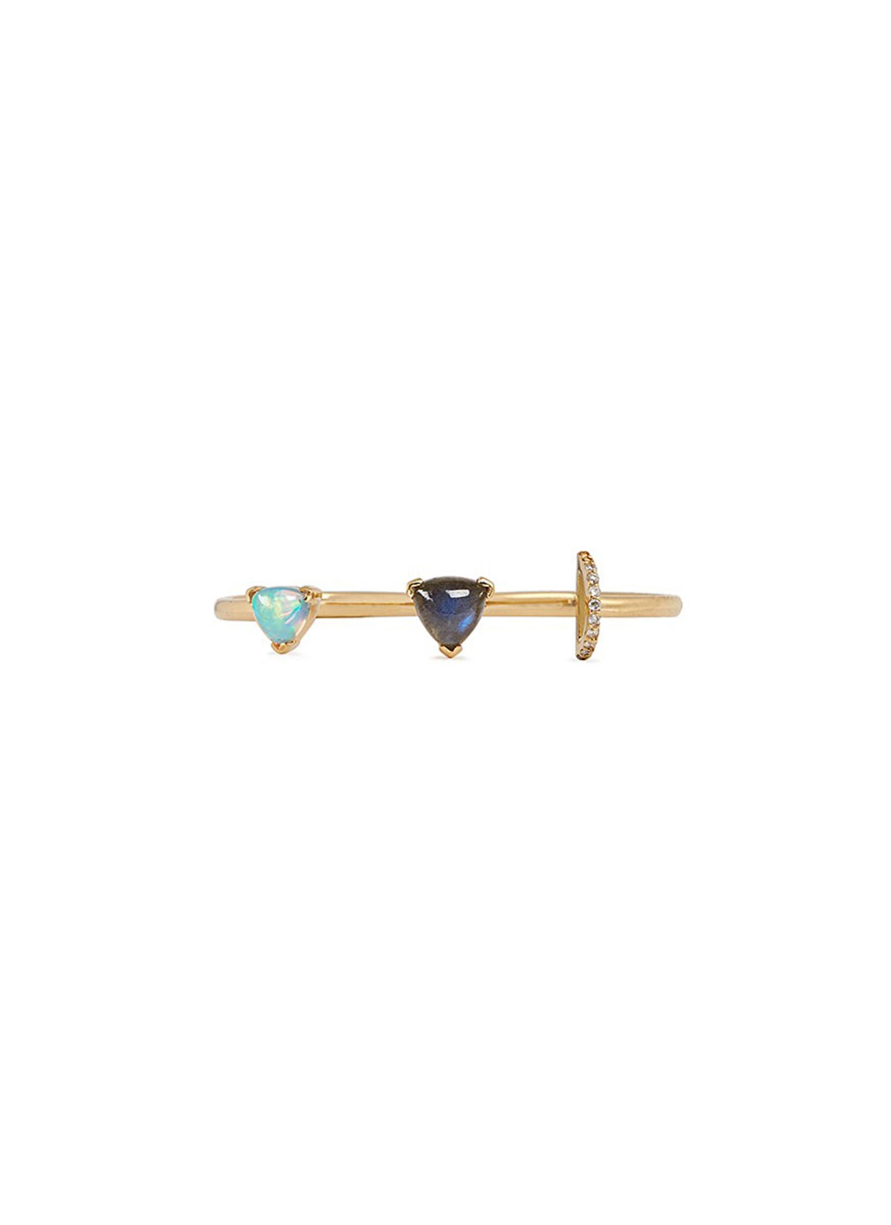 Marta 18k gold diamond pavé opal labradorite two finger ring by Phyne By Paige Novick