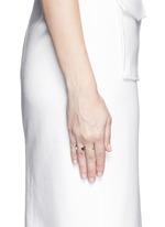 Marta' 18k gold diamond pavé opal labradorite two finger ring