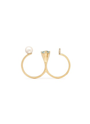 Detail View - Click To Enlarge - Phyne By Paige Novick - 'Marta' 18k gold diamond pavé pearl aquamarine two finger ring