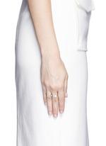 'Marta' 18k gold diamond pavé pearl aquamarine two finger ring