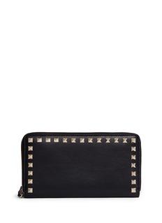 VALENTINO'Rockstud' leather zip continental wallet