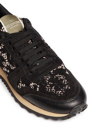 Detail View - Click To Enlarge - Valentino - Leather combo lace sneakers