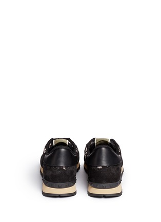 Back View - Click To Enlarge - Valentino - Leather combo lace sneakers
