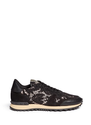 Main View - Click To Enlarge - Valentino - Leather combo lace sneakers