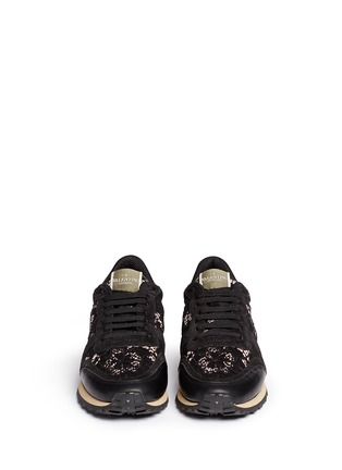 Figure View - Click To Enlarge - Valentino - Leather combo lace sneakers
