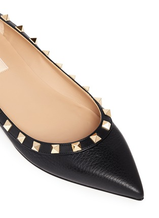 Detail View - Click To Enlarge - Valentino - 'Rockstud' deerskin leather skimmer flats
