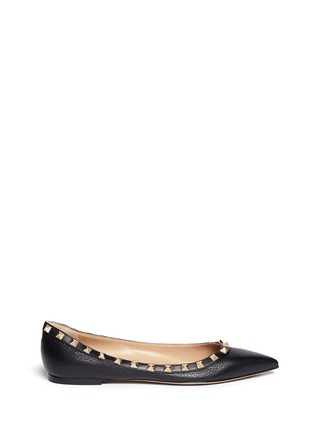 Main View - Click To Enlarge - Valentino - 'Rockstud' deerskin leather skimmer flats