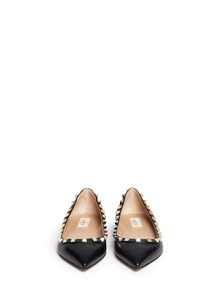 Figure View - Click To Enlarge - Valentino - 'Rockstud' deerskin leather skimmer flats