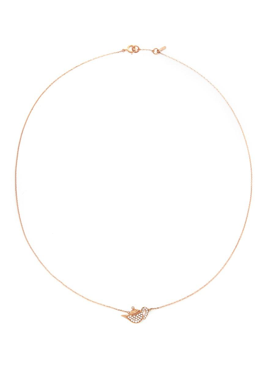 Little Teapot 18k gold diamond necklace by Bao Bao Wan