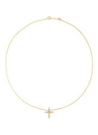 BAO BAO WAN-18K黄金珍珠钻石十字架项链
