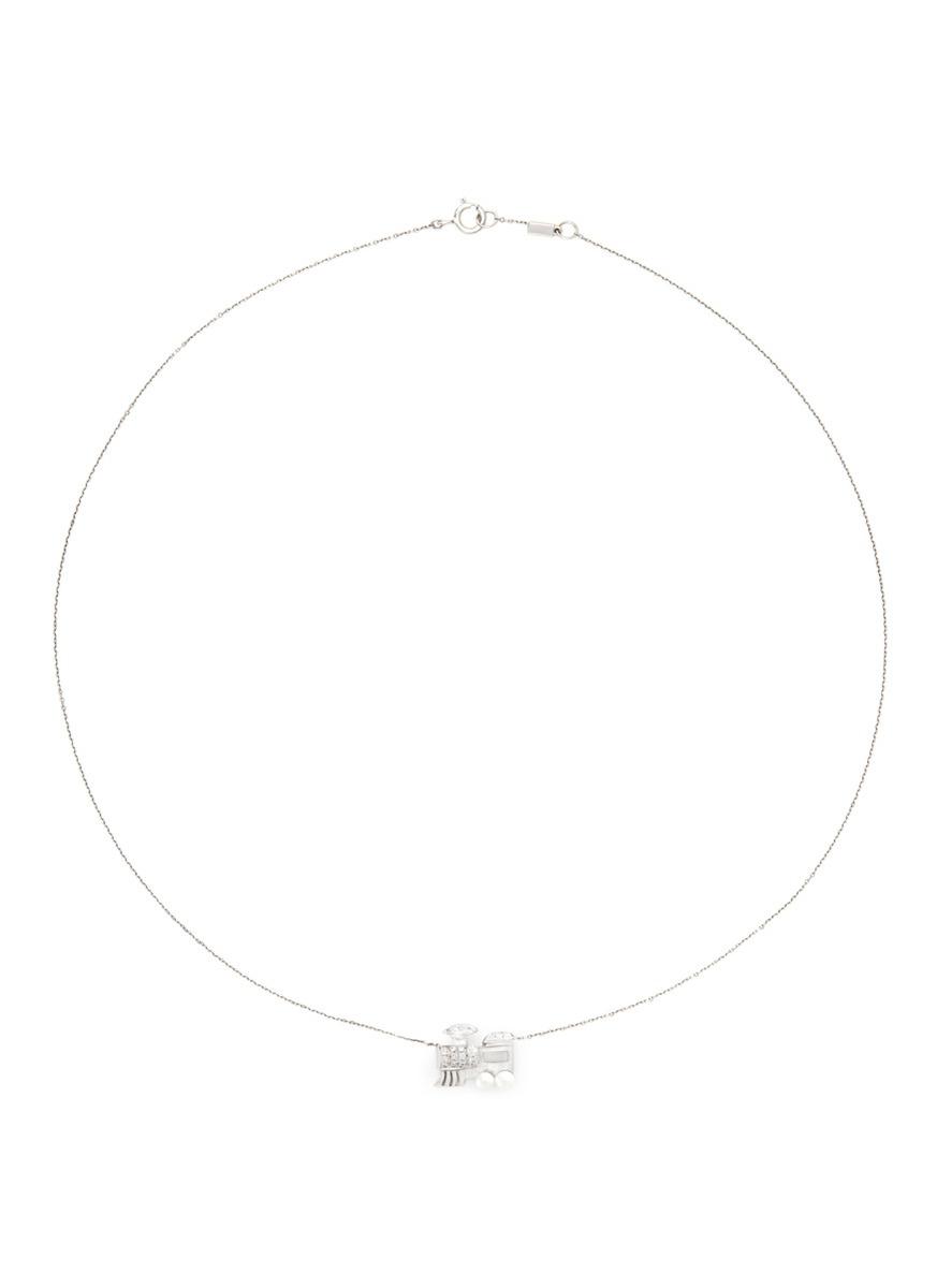 Little Train 18k gold diamond pearl necklace by Bao Bao Wan