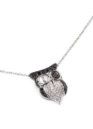 模特儿示范图 - 点击放大 - BAO BAO WAN - 白色18K金钻石猫头鹰项链