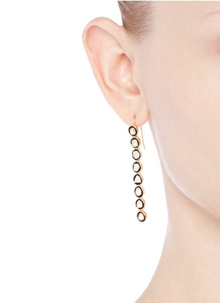 Figure View - Click To Enlarge - Aishwarya - Mounted diamond gold alloy drop earrings