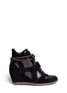 ASH'Bowie' metallic suede wedge sneakers