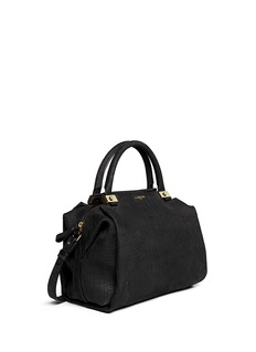 LANVIN Trilogy croc embossed leather bowling bag