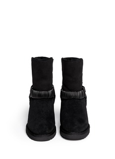 ASH'Youri' chain shearling wedge ankle boots
