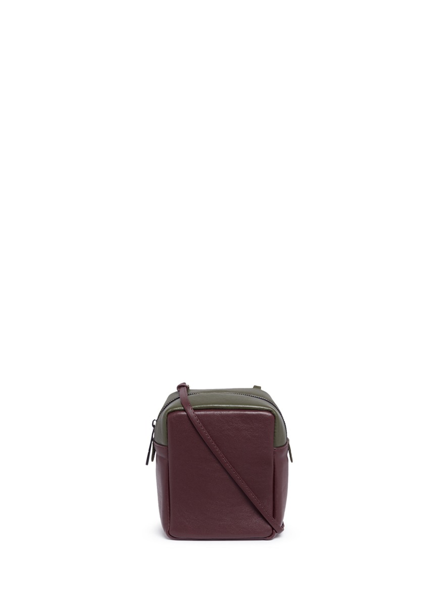 Container Micro colourblock leather box bag by A-Esque