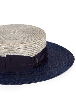 Detail View - Click To Enlarge - Borsalino - 'Toledo' bicolour straw boater hat