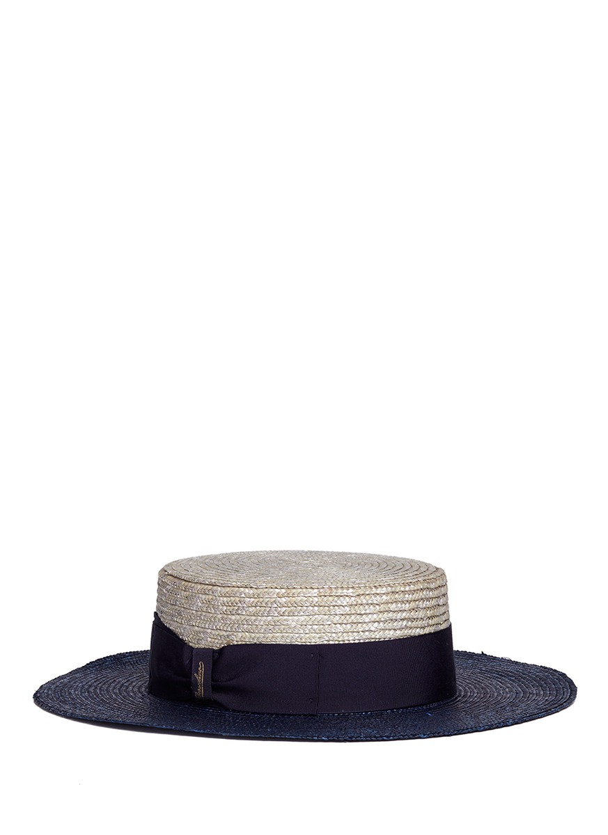 Toledo bicolour straw boater hat by Borsalino
