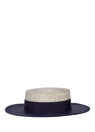 Figure View - Click To Enlarge - Borsalino - 'Toledo' bicolour straw boater hat