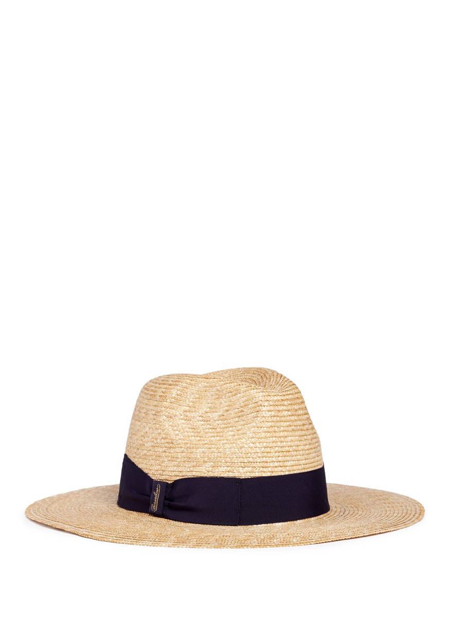 Cappello ribbon bow straw fedora hat by Borsalino