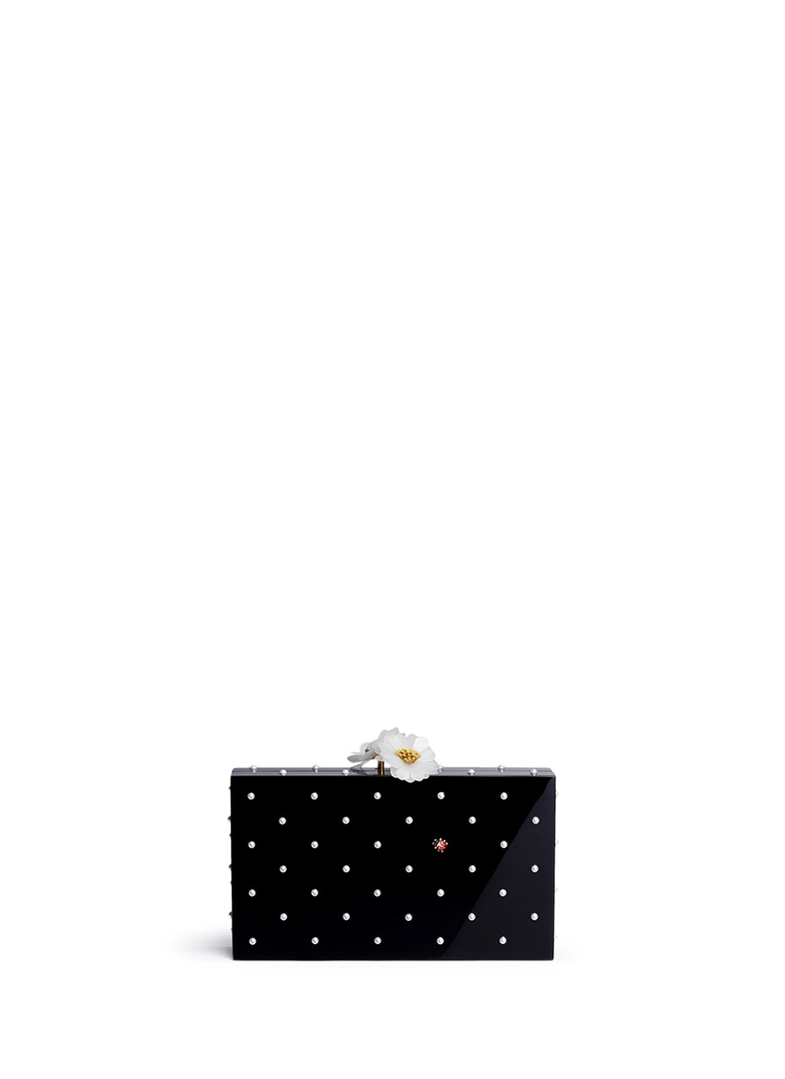 Fresh Pandora pearl ladybug embellished Perspex clutch by Charlotte Olympia