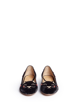 Front View - Click To Enlarge - Charlotte Olympia - 'Lucky Kitty' ladybug embellished velvet flats