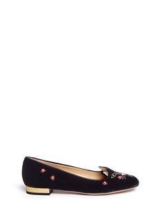 Charlotte Olympia'Lucky Kitty' ladybug embellished velvet flats