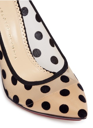 Detail View - Click To Enlarge - Charlotte Olympia - 'Bacall' flocked polka dot mesh pumps