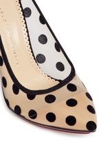 'Bacall' flocked polka dot mesh pumps
