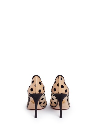 Back View - Click To Enlarge - Charlotte Olympia - 'Bacall' flocked polka dot mesh pumps