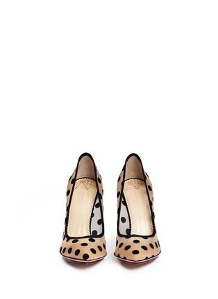 Front View - Click To Enlarge - Charlotte Olympia - 'Bacall' flocked polka dot mesh pumps